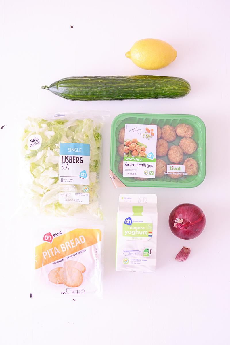 Gezonde pitta met groenteballetjes